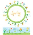 Spring flowers frame and border vector image