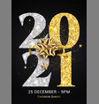 2021 new year gold logo happy premium banner eve vector image vector image