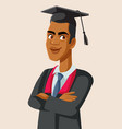 afro american male graduate student vector image