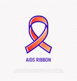 aids red ribbon symbol of support and care vector image