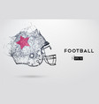 american football helmet in black vector image