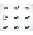 black credit card icons set vector image vector image