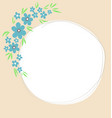 blue flowers decorated white circular frame vector image