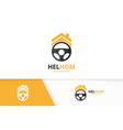 car helm and real estate logo combination vector image vector image