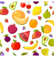 cartoon fruits pattern colorful seamless vector image vector image