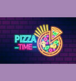 colorful neon pizzeria signboard flat vector image