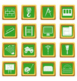 construction icons set green vector image vector image