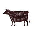 cow cutting scheme butcher shop beef vector image