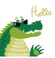 Cute crocodile says hello vector image vector image