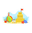 cute tiny kids making sand castle on sea beach vector image