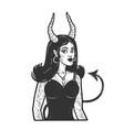 devil girl sketch vector image vector image