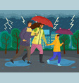 family walking in rain with umbrella and vector image vector image