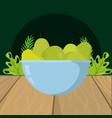 fresh fruits green pears cartoon vector image