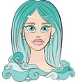 girl with blue hair vector image