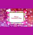 golden frame valentines day with colorful hearts vector image vector image