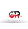 gr g r brush logo letters with red and black vector image vector image