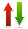 green and red up down arrows vector image vector image
