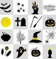Halloween black and yellow icons set vector image