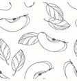 hand drawn outline seamless pattern with apple vector image
