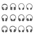 headphones black and white glyph icons set vector image