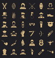 hipster man icons set simple style vector image