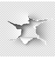 hole torn in ripped paper on transparent vector image vector image