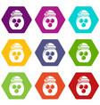 jar honey icons set 9 vector image vector image