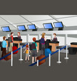 lining up at the check-in counter in the airport vector image vector image