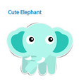 lovely paper elephant on white background vector image vector image