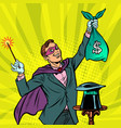 magician with dollar money vector image vector image