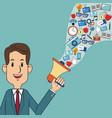 man business holding speaker digital marketing vector image vector image