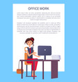 pretty woman office workplace typing on computer vector image vector image