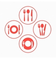 Red restaurant icons set vector image vector image