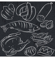 set of different meats on blackboard vector image