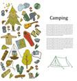 set of hand drawn sketch camping equipment symbols vector image vector image