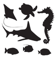 shark turtle fish and Seahorse silhouette vector image