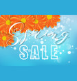 spring sale concept flowers bokeh blue and vector image vector image
