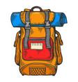 tourist backpack line art sketch