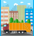 urban cityscape with garbage car vector image vector image