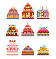 wedding cake pie sweets dessert bakery flat simple vector image vector image