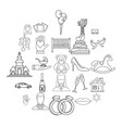 wedding icons set outline style vector image vector image