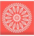 white leaves mandala design pink background vector image
