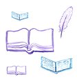 Opened for reading a book with a quill pen vector image