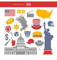 usa culture symbol set europe travel usa vector image
