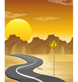 A curved road in the desert vector image