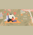 banner inviting to a picnic in autumn garden vector image vector image