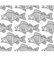 bass fish contour seamless pattern vector image vector image