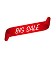 big sale banner red curled paper ribbon vector image vector image