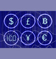 bitcoin and digital virtual money icons set vector image vector image