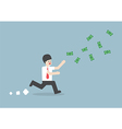 Businessman chasing falling dollar bills vector image
